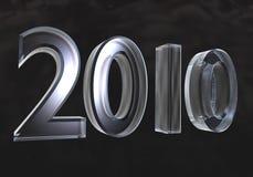 Ano novo 2010 no vidro (3D) Imagens de Stock