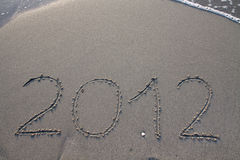 Ano novo 2012 na praia Foto de Stock Royalty Free