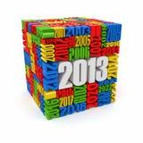 Ano novo 2013.cube construído dos números. ilustração do vetor