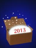 Ano novo 2013 da surpresa no azul Fotos de Stock Royalty Free
