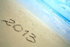 Ano novo 2013 na praia Fotografia de Stock