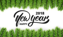 Ano novo Cartão com ramos tipográficos do logotipo do ano novo e de árvore do Natal Fundo festivo para o inverno Foto de Stock Royalty Free