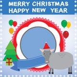 Ano novo, cartão de Natal com vetor dos carneiros 2015 ilustração stock
