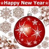 Ano novo. Cartão de Natal do cumprimento. Imagem de Stock