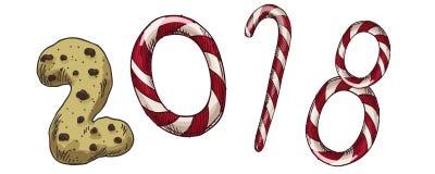Ano novo 2018 Cartão do inverno com doces e biscoito Vector a imagem para o dia de anos novos, Natal, doce-material, feriado de i ilustração stock