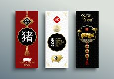 Ano novo chinês do porco do ouro do grupo 2019 de cartão ilustração do vetor