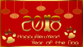 Ano novo chinês feliz 2018 Imagens de Stock
