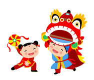 Ano novo chinês feliz Lion Dance Fotografia de Stock Royalty Free