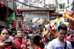 Ano novo chinês no bairro chinês de Manila fotografia de stock