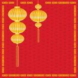 Ano novo chinês no fundo vermelho Iluminação da lâmpada e do ouro no feriado chinês do ano novo Foto de Stock