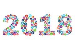 Ano novo 2018 com ícones sociais dos meios ilustração stock