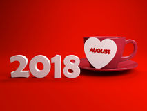 Ano novo 2018 com August Month Fotografia de Stock