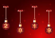 Ano novo 2019 com bola do Natal ilustração stock