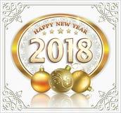 Ano novo 2018 com bolas Foto de Stock Royalty Free