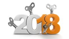 Ano novo 2018 com chaves do enrolamento Foto de Stock