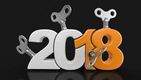 Ano novo 2018 com chaves do enrolamento Fotos de Stock Royalty Free