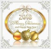 Ano novo com data 2018 em um oval do ouro Imagens de Stock Royalty Free
