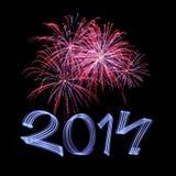 Ano novo 2014 com fogos-de-artifício Fotos de Stock Royalty Free
