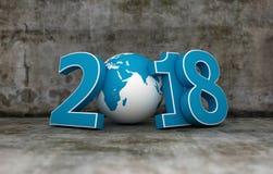 Ano novo 2018 com globo ilustração do vetor