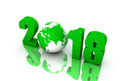 Ano novo 2018 com globo ilustração royalty free