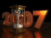 Ano novo com Hourglass Fotografia de Stock Royalty Free