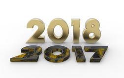 Ano novo 2018 com ilustração 2017 3d velha Imagem de Stock Royalty Free