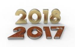 Ano novo 2018 com ilustração 2017 3d velha Fotografia de Stock Royalty Free