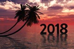 Ano novo 2018 com nascer do sol ilustração royalty free