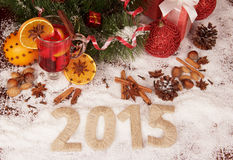 Ano novo 2015 com neve Imagens de Stock Royalty Free