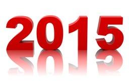 Ano novo 2015 com reflexão no branco ilustração do vetor