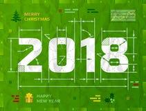 Ano novo 2018 como o desenho técnico do modelo Fotos de Stock