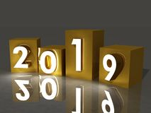 Ano novo, 2019, cubos, 3d ilustração royalty free
