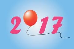 Ano novo da ilustração 2017 no fundo azul Fotos de Stock Royalty Free