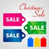 Ano novo da venda grande e etiqueta do boneco de neve do Natal Imagens de Stock Royalty Free