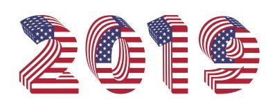 2019 ano novo de bandeira americana dos números 3d ilustração stock