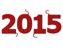 Ano novo 2015 de tela feita malha isolada no fundo branco Fotos de Stock Royalty Free
