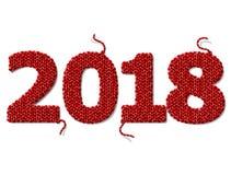 Ano novo 2018 de tela feita malha no fundo branco Fotografia de Stock Royalty Free