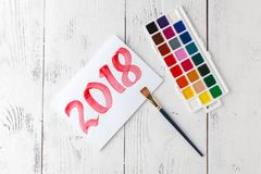 Ano novo de tiragem 2018 com escova de pintura Fotos de Stock Royalty Free