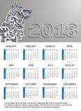 Ano novo 2018 do calendário, ano do cão Livro Branco do vetor rabisca o teste padrão floral Lugar para seu texto, logotipo Imagens de Stock
