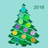 Ano novo do calendário 2016 da árvore de Natal Fotografia de Stock