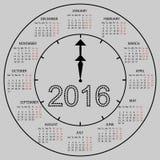 Ano novo do calendário 2016 do seletor do relógio Fotos de Stock