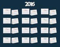Ano novo do calendário 2016 do vetor ilustração royalty free