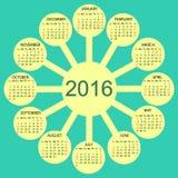 Ano novo do calendário 2016 ensolarados dos círculos Fotos de Stock