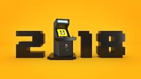 Ano novo do conceito 2018 da máquina de jogo de arcada do vintage Imagem de Stock Royalty Free