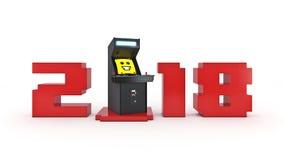 Ano novo do conceito 2018 da máquina de jogo de arcada do vintage Imagens de Stock Royalty Free