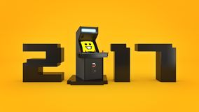 Ano novo do conceito 2017 da máquina de jogo de arcada do vintage Imagem de Stock