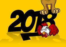Ano novo do galo 2018 cômicos dos desenhos animados Imagens de Stock Royalty Free