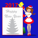 Ano novo do Natal da menina de Santa em um fundo azul com o símbolo da folha de ilustração w do galo da galinha do galo 2017goda Fotografia de Stock Royalty Free