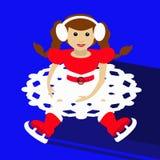 Ano novo do Natal da menina de Santa no fundo azul que senta-se com patins e ondas acima da ilustração uma saia sob a forma da ne Imagens de Stock
