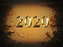 Ano novo do ouro 2020 luxuosos no fundo do bokeh do ouro Ano novo feliz 2020 imagem de stock